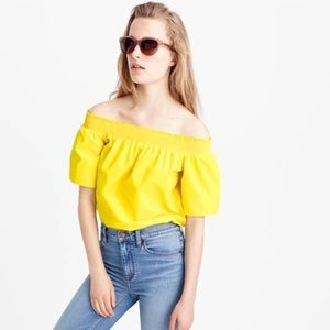 J. Crew Cotton Off-the-Shoulder Top in Yellow